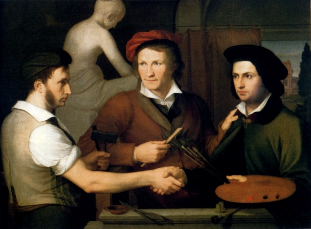 Wilhelm von Schadow: Selvportræt med broderen Rudolph og Bertel Thorvaldsen. Kilde: Wikimedia
